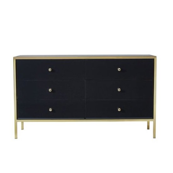 Vivian Glass Chest Of Drawers Wide In Black And Gold_2