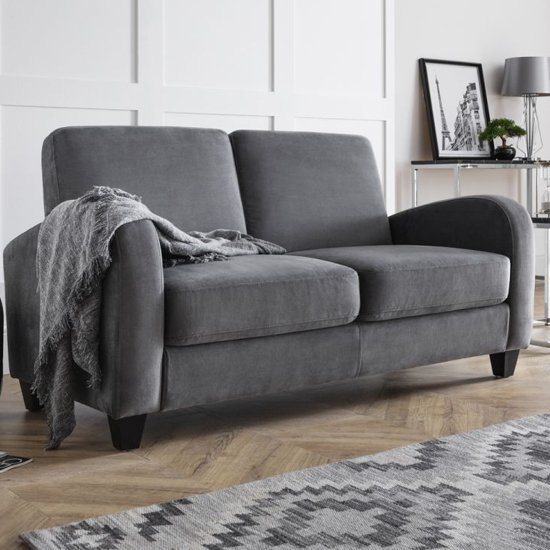 Vivo Chenille Fabric Fold Out Sofa Bed In Dusk Grey
