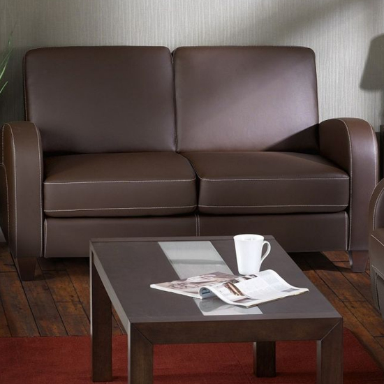 Vivo Faux Leather Fold Out Sofa Bed In Chestnut