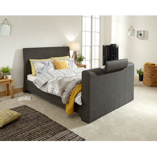 View Vizzini pneumatic fabric king size tv bed in dark grey