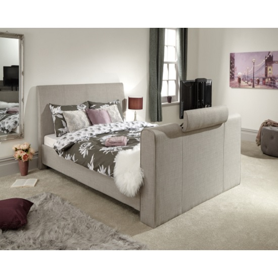 View Vizzini pneumatic fabric king size tv bed in light grey