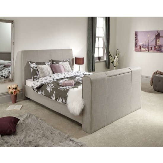 Vizzini Pneumatic Fabric Double TV Bed In Light Grey_2
