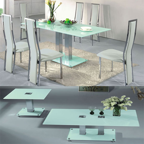 VO1 Frosted Glass 6 Seater Dining Set With Coffee And Lamp Table