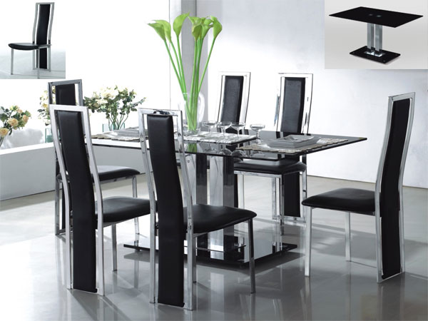 VO1 Black Glass Dining Set with 4 Black Chrome PU Chairs