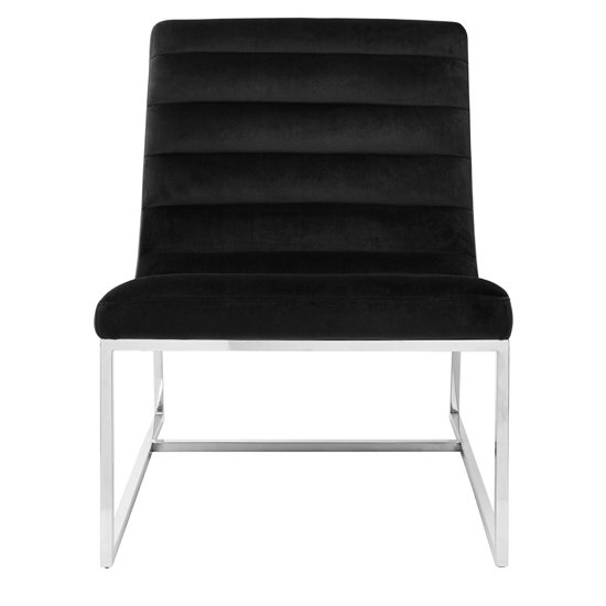 Sceptrum Black Velvet Curved Cocktail Lounge Chair