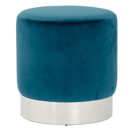 Sceptrum Teal Velvet Round Stool With Silver Base