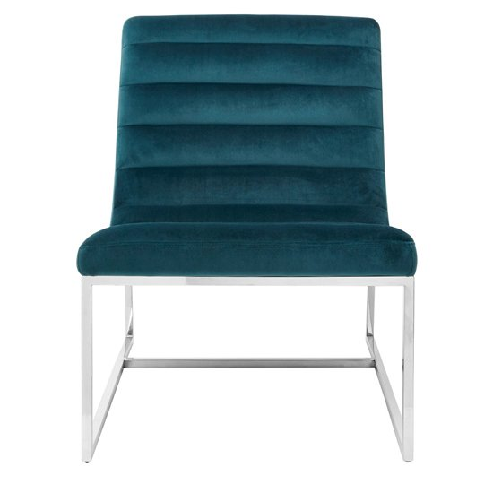 Sceptrum Velvet Curved Cocktail Chair In Teal