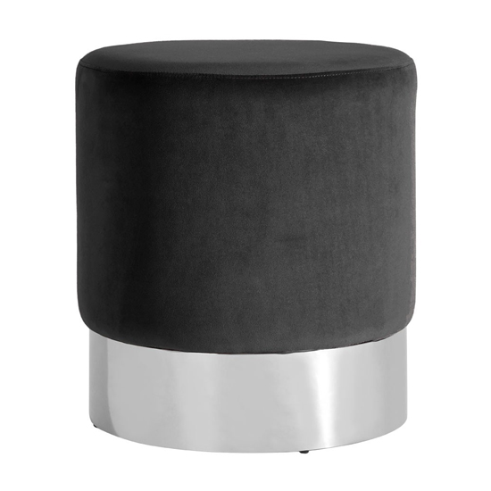 Sceptrum Velvet Round Stool In Black With Silver Base