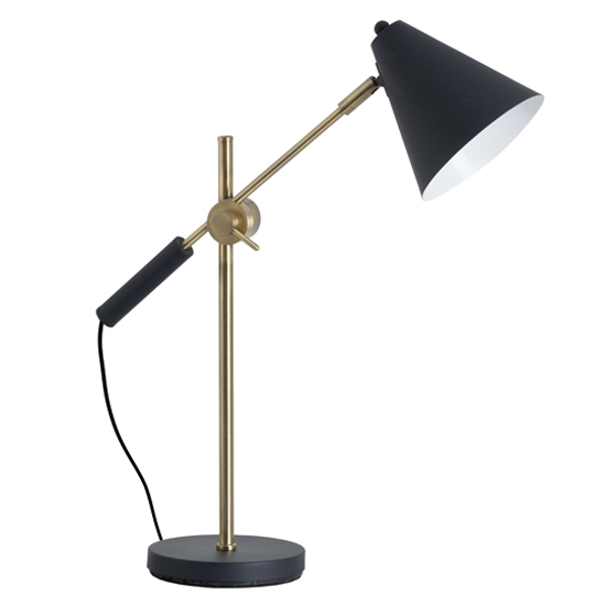 Voila Metal Adjustable Table Lamp In Brass With Black Cone Shade