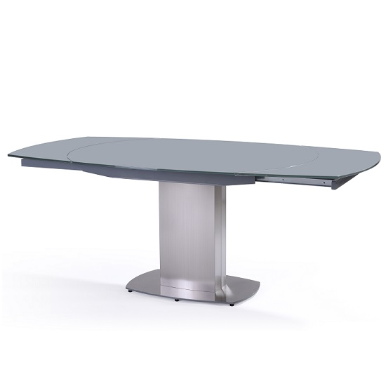 Volta Extendable Swivel Glass Dining Table In Grey