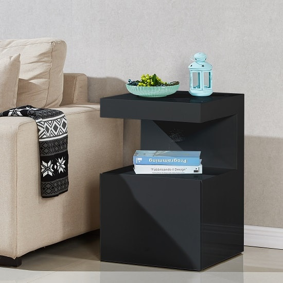 Voltaire Contemporary Side Table In Black High Gloss