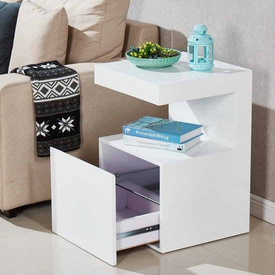 Voltaire Contemporary Side Table In White High Gloss_2