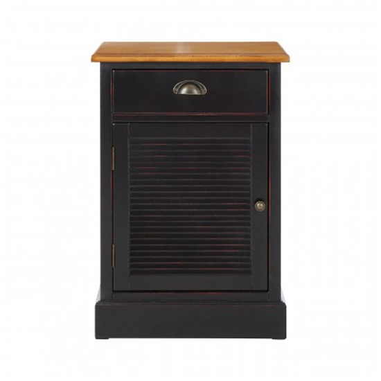 Product photograph showing Vorgo Wooden Bedside Cabinet In Black