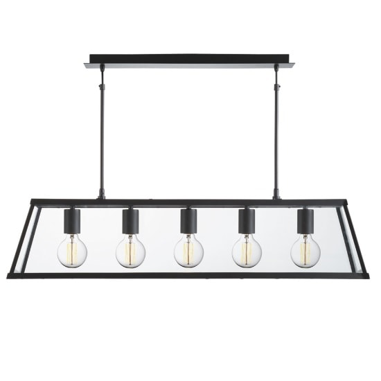 Voyager 5 Light Lantern In Matt Black And Clear Glass Shade