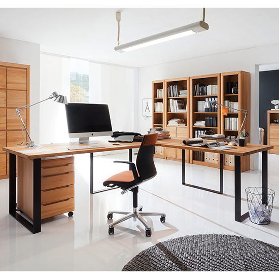 View Vrox wooden corner computer desk in heartwood beech