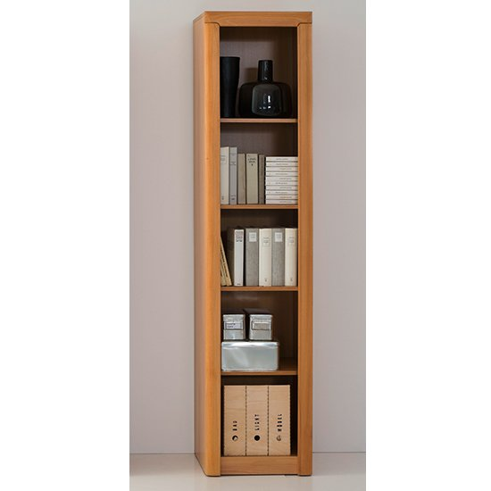 Vrox Wooden Tall Office Shelving Unit In Heartwood Beech