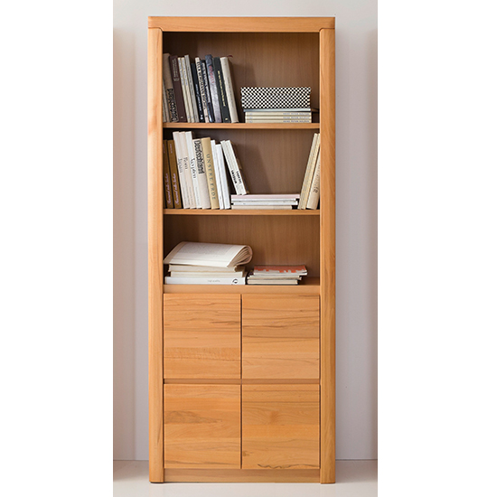 Vrox Wooden Tall Office Storage Cabinet In Heartwood Beech