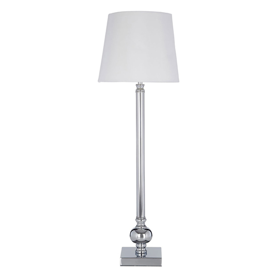 Vrusla White Fabric Shade Table Lamp With Chrome Base
