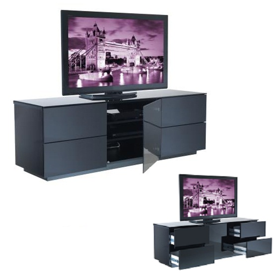 vts 0371 1 LONDON black - How To Stylishly Furnish A Room With Black TV Stands With Glass Doors