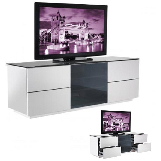 Wilson Designer High Gloss White TV Stand with Black Glass Door