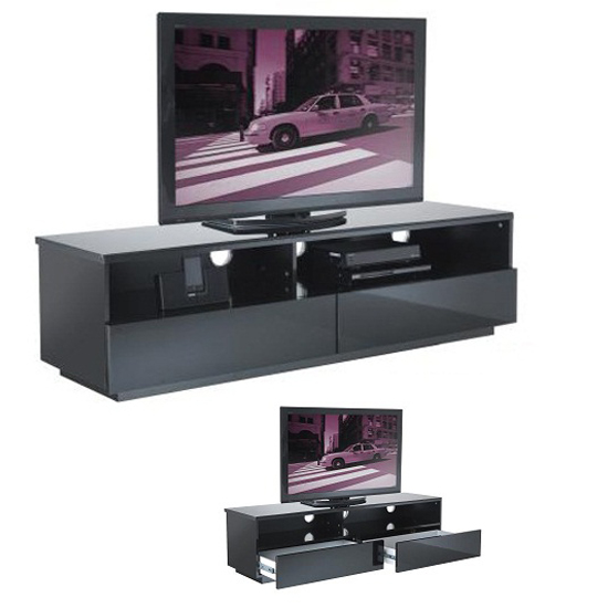 Iceburg Black Gloss Low Level TV Stand
