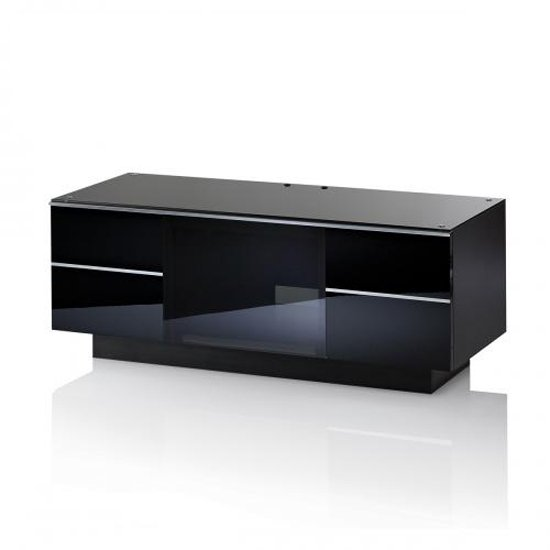 Damian TV Stand In Black Glass Top And Piano Black High Gloss