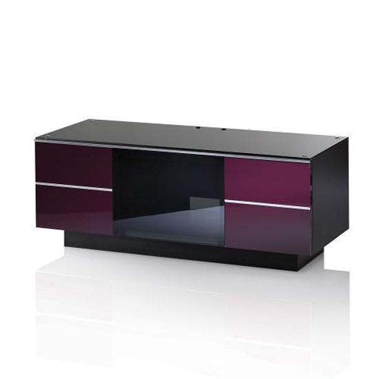 Damian TV Stand In Black Glass Top With High Gloss Drawers