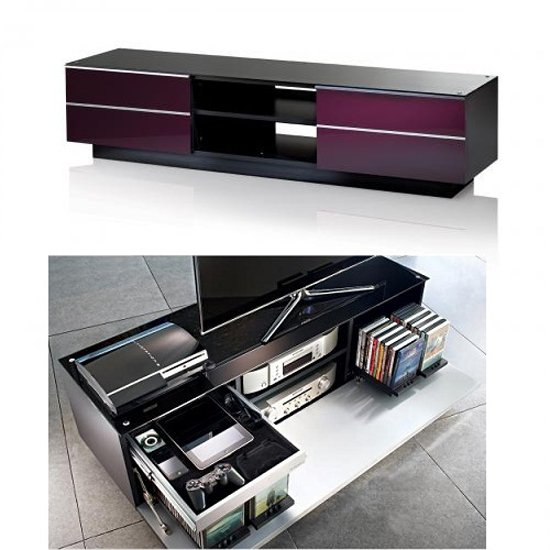 Damian TV Stand In Black Glass Top With Drawers And Shelf
