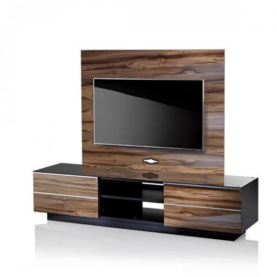 Munich Wooden TV Stand In Black Glass Top With Background