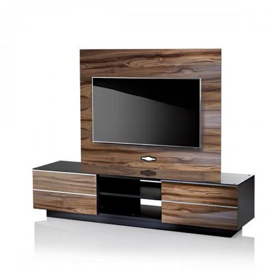 Munich Wooden TV Stand In Black Glass Top With Background Plate