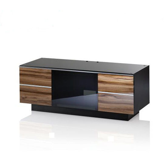 Munich Wooden TV Stand In Black Glass Top With 2 Drawers