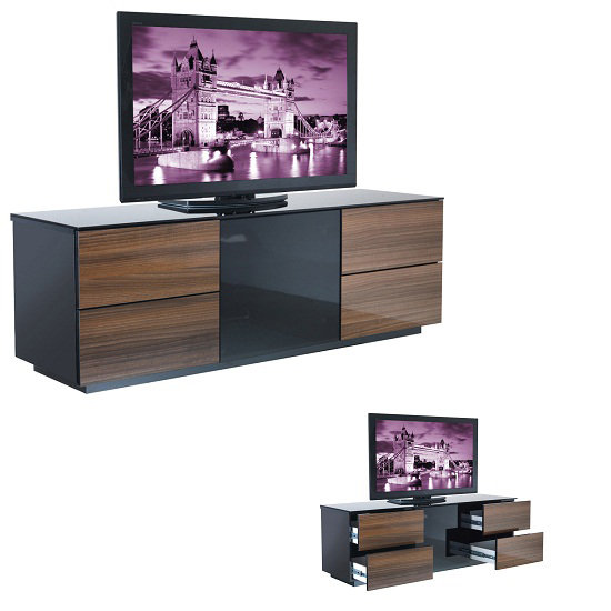 Wilson Designer High Gloss Black And Walnut TV Stand