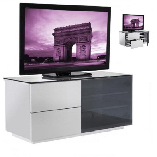 Parin White Gloss 2 Drawer TV Stand With Black Glass Door