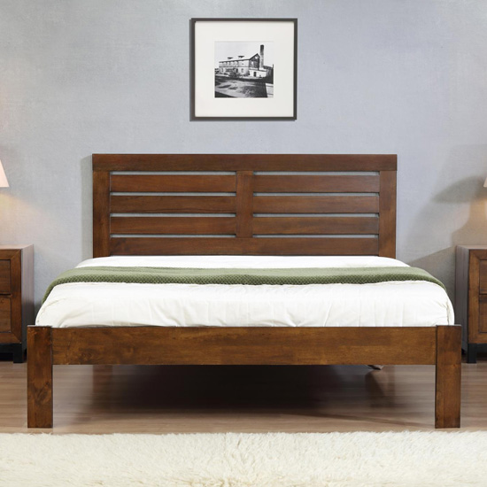 Vulcan Solid Wooden Double Bed In Rustic Oak
