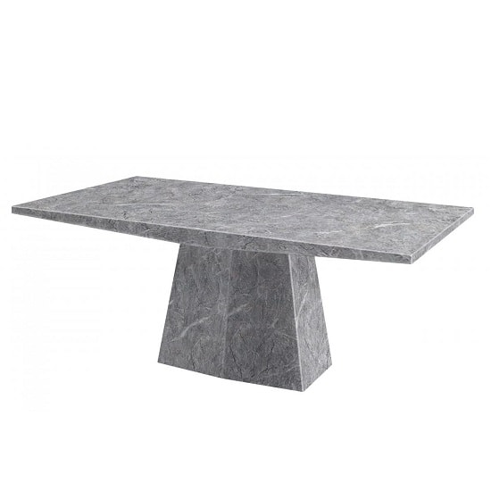 Vulcano Contemporary Marble Dining Table Rectangular In Grey