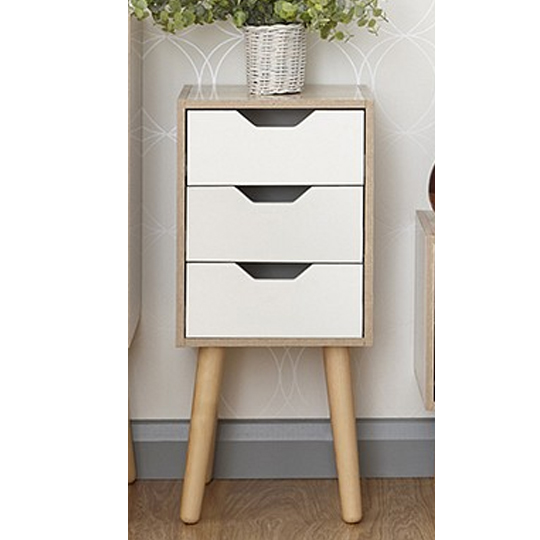 Vulpecula Chest Of Drawers In White And Oak With 3 Drawers