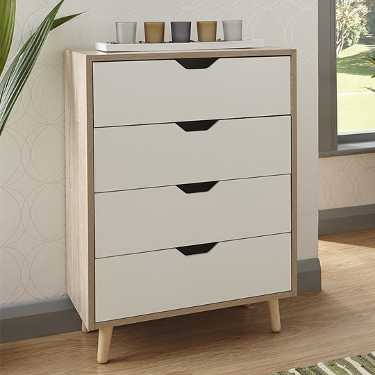 Vulpecula Chest Of Drawers In White And Oak With 4 Drawers