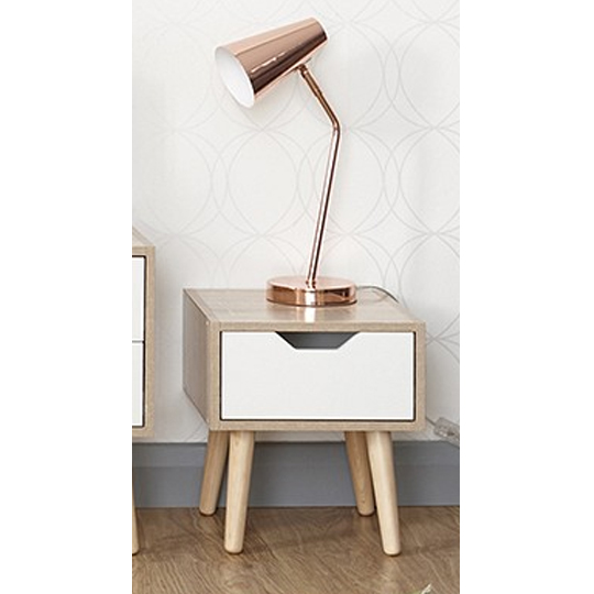Vulpecula Nightstand In White And Oak With 1 Drawer
