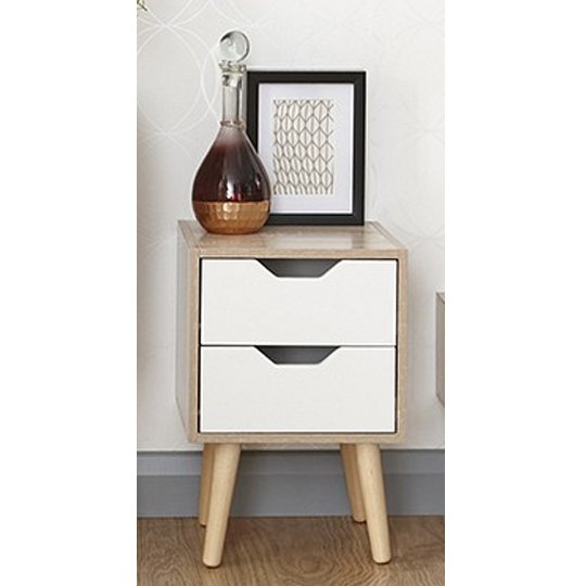 Vulpecula Nightstand In White And Oak With 2 Drawers