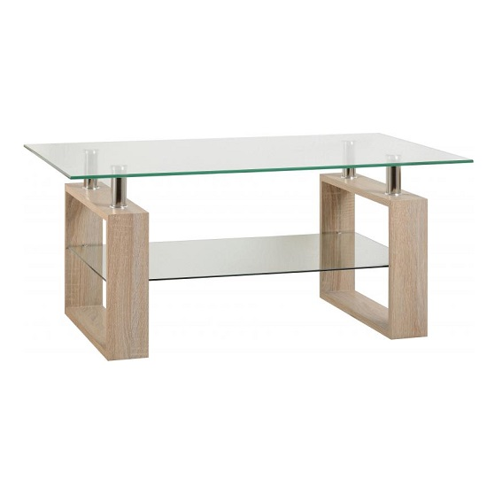 Waddell Clear Glass Coffee Table With Sonoma Oak Legs