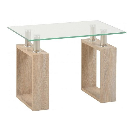 Waddell Clear Glass Lamp Table With Sonoma Oak Legs_1