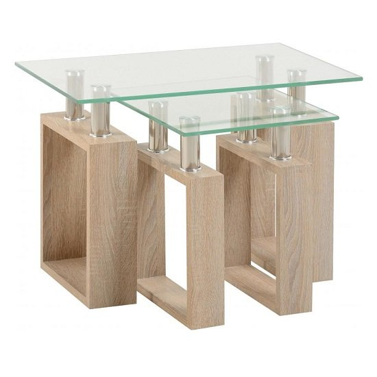 Waddell Clear Glass Nest Of Tables With Sonoma Oak Legs