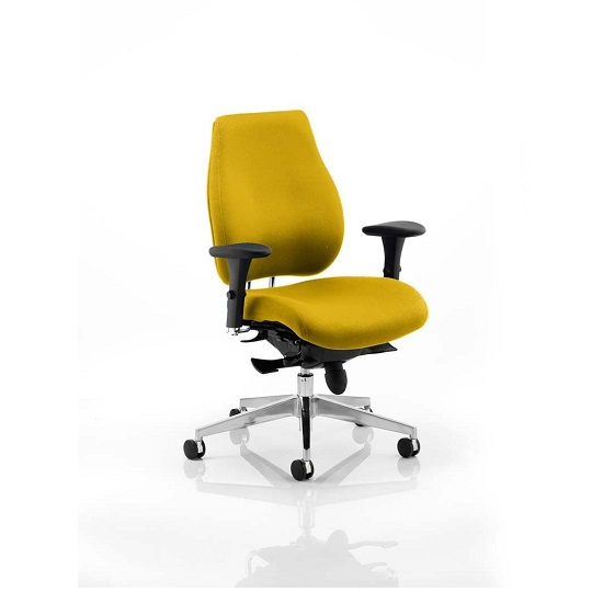 Wadena Office Chair In Senna Yellow With Removable Arms
