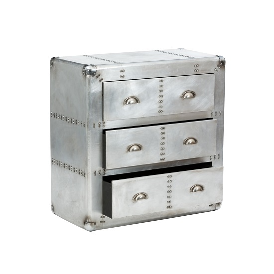 Waldron Chest of Drawers Large In Silver With 3 Drawers