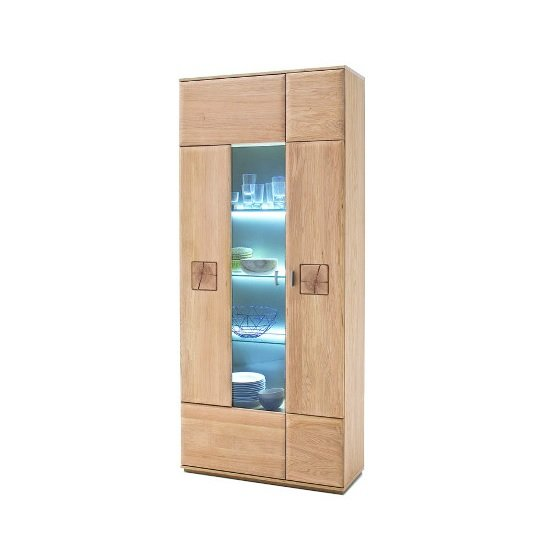Wales Display Cabinet In Bianco Oak With 2 Doors And LED