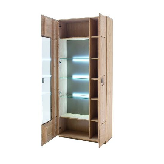 Wales Display Cabinet In Bianco Oak With 2 Doors And LED_2