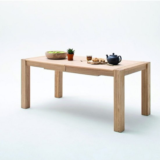 Wales Wooden Extendable Dining Table In Bianco Oak