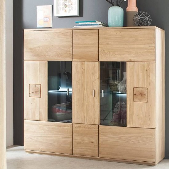 View Wales wooden highboard in bianco oak with 3 doors and led