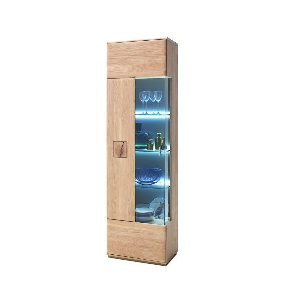 Wales Left Display Cabinet In Bianco Oak With 1 Door And LED