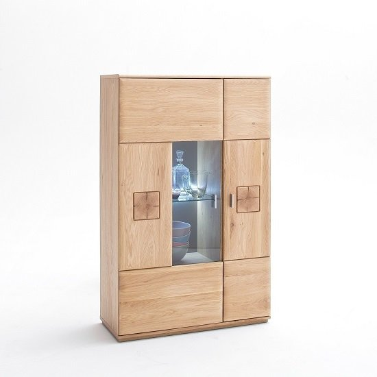 View Wales left highboard in bianco oak with 2 doors and led